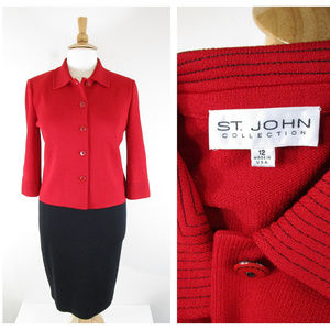 St. John Collection Red Black Santana Knit Suit